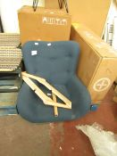 | 1X | MADE.COM DORIS ACCENT ARMCHAIR, REGAL BLUE VELVET, WITH LIGHT WOODEN LEGS | NO ORIGINAL