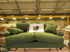 | 1X | SWOON SUTTON 2 SEATER SOFA IN GREEN | COULD DO WITH A CLEAN IN PLACES AND HAS A FORKLIFT FORK