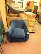 | 1X | MADE.COM BLUE VELOUR ACCENT CHAIR| LOOKS TO BE IN VERY GOOD CONDITION JUST A COUPLE OF