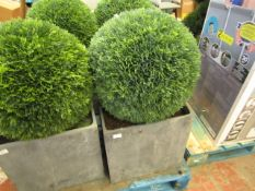 1 x Extra Large Buxus Faux Ball in Slate Pot approx 3ft in height RRP £149.00 (may have damage to