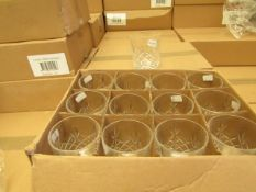12 x Alpina Crystaline - 300ML Glass Tumblers - New & Boxed. see image for design