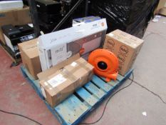 7x Faulty electrical items including a Inflatable blower, Mill heater and more