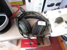 Rig 400 Gaming head set, tested working for sound to the head phones via a phone but the micro phone