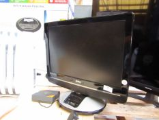 """UMC 19"""" TV/DVD Player with iPod dock built in the item powers up but without the remote control we"""