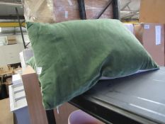 | 1X | MADE.COM 2X GREEN, VELVET CUSHIONS, 35cm x 50cm | USED & NO PACKAGING | RRP - |