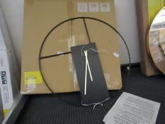 | 1X | MADE.COM OUTLINE LARGE STATEMENT WALL CLOCK 60CM, MATT BLACK & BRUSHED BRASS | LOOKS UNUSED &