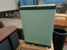 | 1X | MADE.COM COLTER 60L SOFT CLOSE DOUBLE RECYCLING BIN 2X 30L SAGE GREEN |MAY BE SOME DINTS OR
