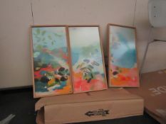 |3X | MADE.COM MULTI COLOURED WALL PAINTNG WITH LIGHT BROWN WOODEN FRAME | LOOKS UNUSED ( NO