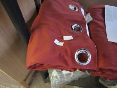 | 1X | MADE.COM PAIR OF JULIUS VELVET EYELET LINED PAIR OF CURTAINS, RED | NO PACKAGING & LOOKS