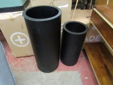 | 1X |MADE.COM DAYO SET OF TWO TALL , RIBBED PLANTERS BLACK | LOOKS UNUSED ( NO GUARANTEE ) &