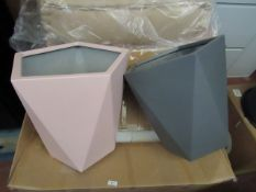 | 1X | MADE.COM BALOO SET OF 2 GEOMETRIC LARGE FIBREGLASS PLANTERS, LIGHT PINK & GREY | LOOKS UNUSED