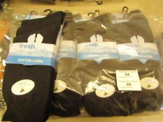 12 X Pairs of Mens Cotton Lycra Black Socks Size 6 to 11 New & Packaged