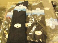 12 X Pairs of Girls Knee High Socks Navy Size 9 to 12 New & Packaged