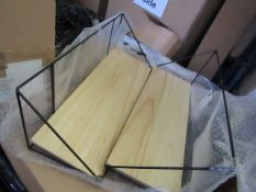 | 1x | COX & COX TWO INDUSTRIAL WOOD & METAL SHELVES LARGE | UNCHECKED & BOXED | RRP £85 |