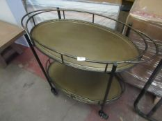 | 1x | COX & COX ONE WORLD GRANVILLE OVAL IRON DRINKS TROLLEY | SCRATCHES PRESENT ON TOP BASE |