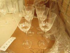 6 x Cristal De Toscane Etched Wine Glasses - New. see image for design