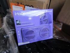 iHome Wireless rechargable Stereo speaker with rubberized finish, new and packaged