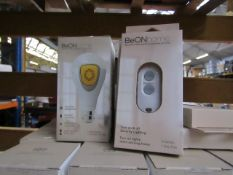 4x BeOn Home smart security light bulb with 1 remote control look unused and boxed