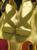 1 x JD Williams Soft Cross Over Khaki Wedge Shoes size 4 new see image for style