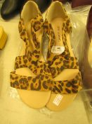 1 x JD Williams Soft Strap Leopard Espadrille Sandals size 4 new see image for style