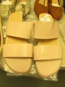 1 x JD Williams Twin Strap Nude Wedge Sandals size 4 new see image for style