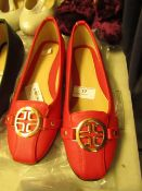1 x JD Williams Red Ballerina Shoes size 4 new see image for style