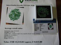 IGL&I certified - Natural Brazilian Emeralds- 15.35 carats - 59 pieces - Average retail value £9,