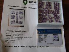 IGL&I Certified - Natural Brazilian Amethyst - *Huge* 110.90 carats - 94 pieces - Average retail