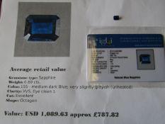 IGL&I Certified - Natural Sapphire (untreated) - 0.80 carats - average retail value £787.82 IGL&I is