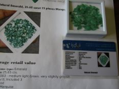 IGL&I certified - Natural Emeralds - 25.65 carats - 73 pieces - Average retail value £ 11,095.50