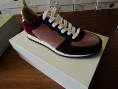 L.K.Bennett Ricky Blush / Bergundy Velvet shoes, size EU37, unused and boxed. RRP £75