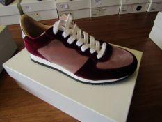 L.K.Bennett Ricky Blush / Bergundy Velvet shoes, size EU39, unused and boxed. RRP £75