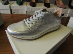 L.K.Bennett Ricky Silver Nappa Leather shoes, size EU39, unused and boxed. RRP £75