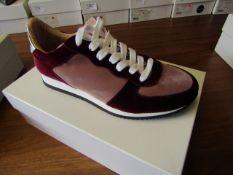 L.K.Bennett Ricky Blush / Bergundy Velvet shoes, size EU40, unused and boxed. RRP £75