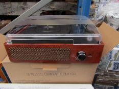 Wireless 33,45,78 RPM Selectable TurnTable Player Unchecked & boxed