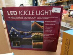 LED ICICLE Light WARM White Outdoor Lights Unchecked & Boxed