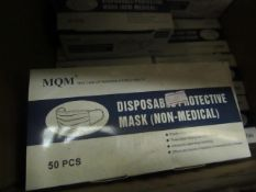 50 x MQM 3 Ply Non-medical Disposable Masks new & packaged