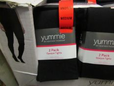 1 x pack of 2 Yummie By Heather Thomson Black Opaque Tights size M new & packaged