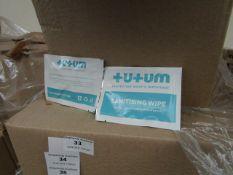 500x Sachets Tutumpee +U+UM Single Use - Sanitising Wipes - New & Boxed.