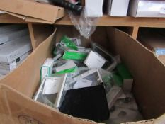 Box of approx 50+ items being mostly Schneider Electric light switches & spare parts for light