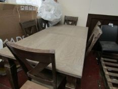Costco 6 piece dining chair set with extendable table, appears to be in good condition just a few