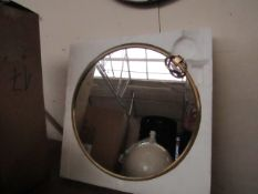   1X   COX & COX AURA BRASS MIRROR   HAS A SMALL CHIP IN THE CORNER OF THE GLASS   RRP £225  