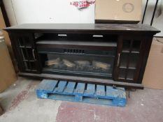 Costco walnut fireplace TV unit with Remote Control, Fire Effect, Fan Colour Change and Heat are