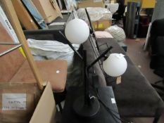   1X   COX & COX WHITE & BLACK GLOBE DECO TABLE LAMP   HAS MARKS ON THE BULBS & UNCHECKED   RRP £125