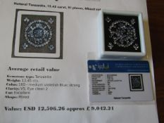 IGL&I certified - Natural Tanzanite - 13.45 carats - 91 pieces - average retail value £9,042.21