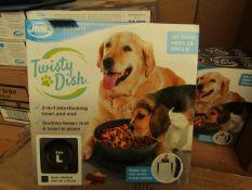 1x JML Twisty Dish - (2-in-1 Interlocking Bowl & Mat) - Size Large (Black Bowl) - New & Boxed.
