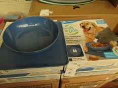 4x JML Twisty Dish - (2-in-1 Interlocking Bowl & Mat) - Size Medium (Blue Bowl) - New & Boxed.