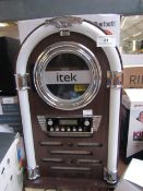 Bluetooth Jukebox with CD Player and FM radio untested due to no power cable and has a door hinge