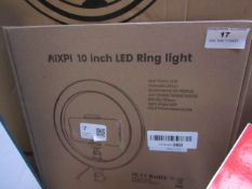 AiXPI 10 inch LED ring light, unchecked and boxed.