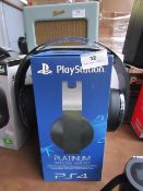 PS4 Platinum wireless headset, unchercked due to no charge and boxed.